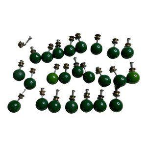24 Vintage Green Art Deco Knobs Drawer Pulls Mid C